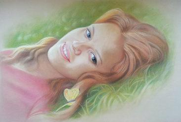Настоящий портрет пастелью для любимой девушки в Киеве, просто и со вкусом!