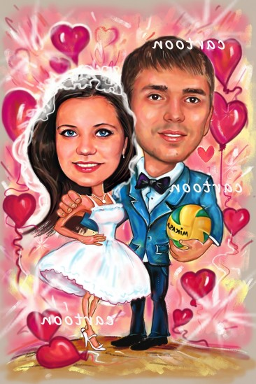 Свадебный шарж с оригинальным сюжетом в Киеве!