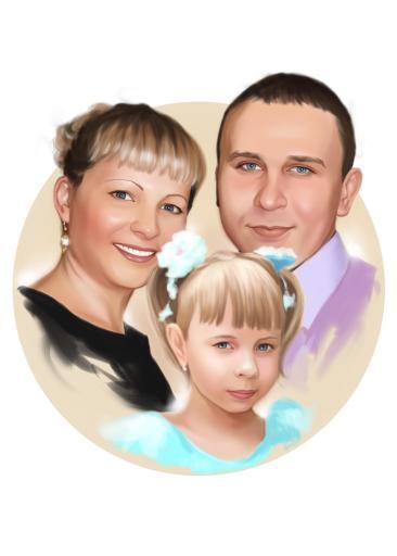 Семейный портрет по фото на холсте в Киеве — правильный подарок!