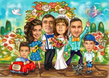 Шарж по фото на годовщину свадьбы на заказ в Киеве…